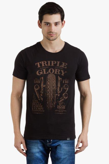 RIGO Black Triple Glory Printed Tees Short Sleeve