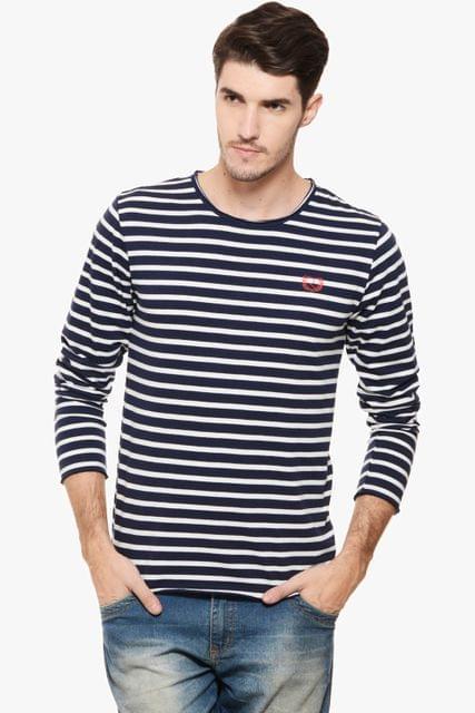 RIGO Navy & White Striped Tee Full Sleeve