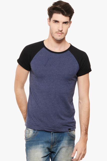 RIGO Purple Melange Tee Black Raglan Short Sleeve