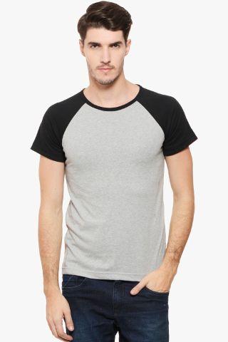 RIGO Grey Tee Black Raglan Short Sleeve