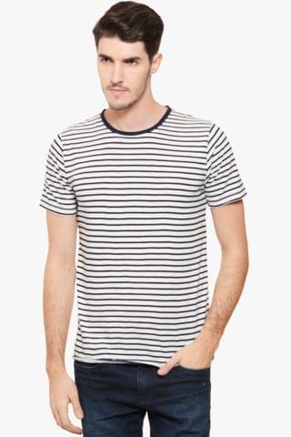 RIGO White Striped T Shirt Short Sleeve