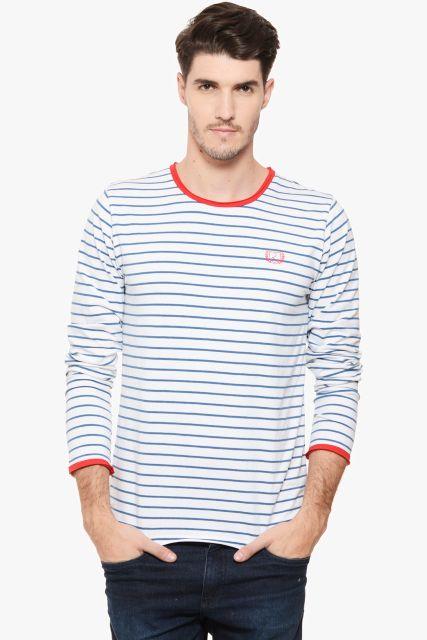 RIGO White Striped Red Detail Full Sleeve