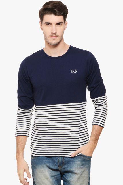 RIGO Navy Solid & Stripe Tee Full Sleeve