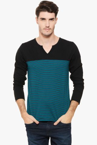 RIGO Blue Stripe & Black V Neck Full Sleeve