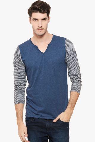 RIGO Blue Melange Stripe Sleeve V  Neck Full Sleeve