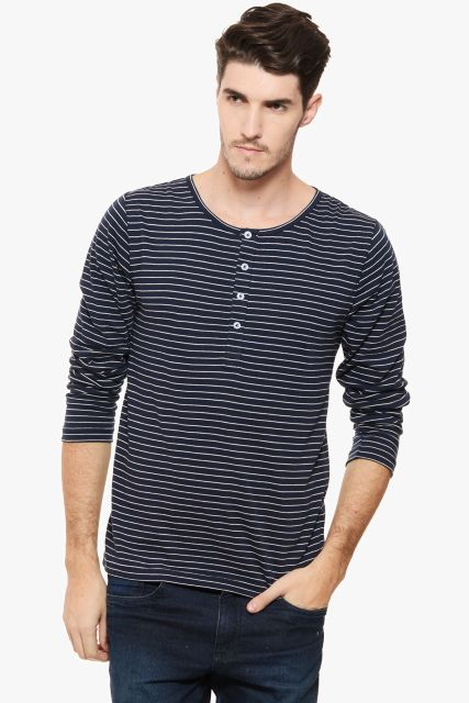 RIGO Navy Striped Henley tee Full Sleeve