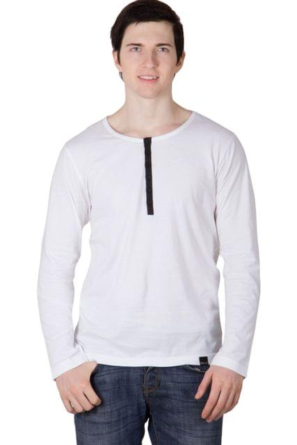 RIGO Solid White Casual Henley Full sleeve T-Shirts