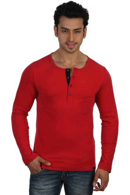 RIGO Solid Red Casual Henley Full sleeve T-Shirts