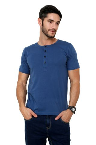 RIGO Solid Blue Casual Henley Half sleeves T-Shirts