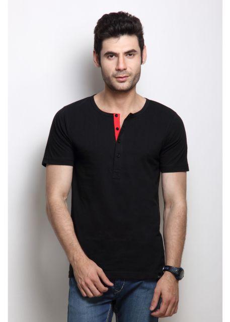 RIGO Solid Black Casual Henley Half sleeves T-Shirts