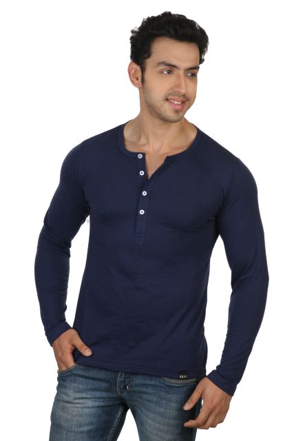 RIGO Solid Blue Casual Henley Full sleeve T-Shirts