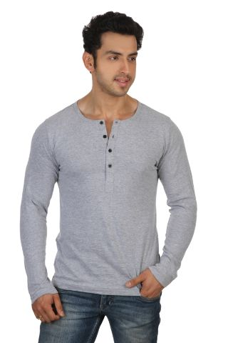 RIGO Solid Grey Casual Henley Full sleeve T-Shirts