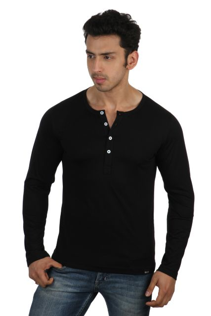 RIGO Solid Black Casual Henley Full sleeve T-Shirts