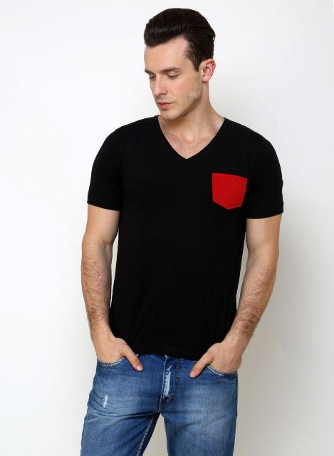 RIGO Solid Black Casual V Neck Half sleeves T-Shirts