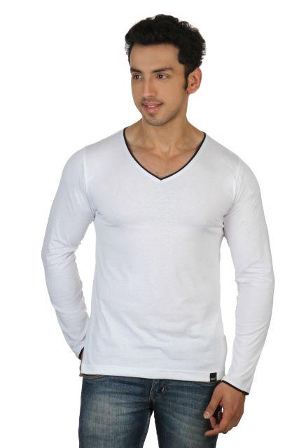 RIGO Solid White Casual V Neck Full sleeve T-Shirts