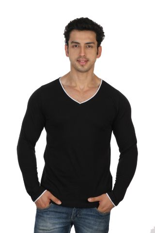 Solid Black Casual V Neck Full sleeve T-Shirts