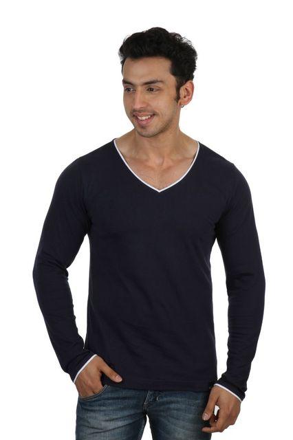 RIGO Solid Blue Casual V Neck Full sleeve T-Shirts