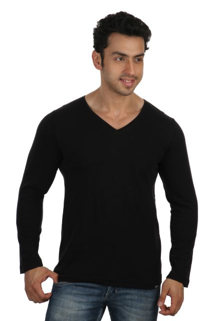 RIGO Solid Black Casual V Neck Full sleeve T-Shirts