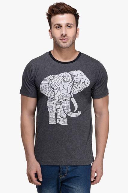 Charcaol Melange Elephant Printed Round Neck Tee