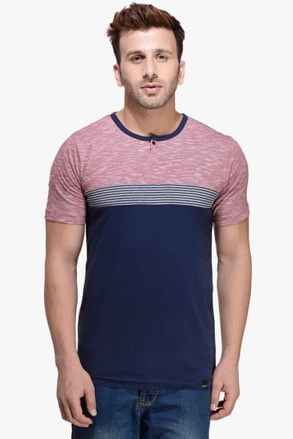 Maroon Slub & Navy Short Sleeve, Henley Neck Tee