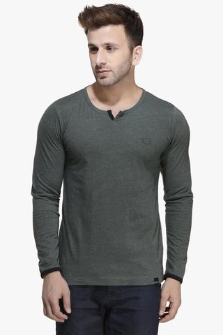 Green Melange Slim Fit, Long Sleeve, Henley Neck Tee
