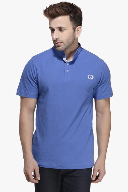 Shine Blue Half Sleeve Printed Polo Tee