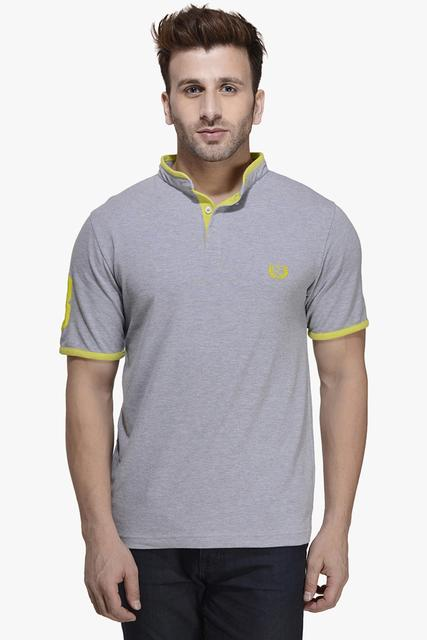 Grey Melange Half Sleeve Polo Tee,
