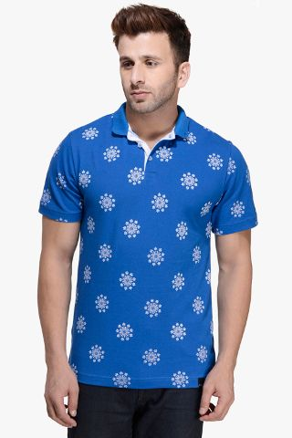 Blue Geometric Printed Half Sleeve Polo Tee