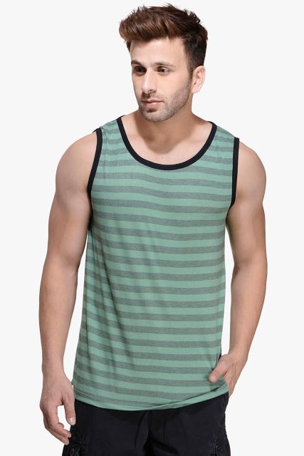 Army Green Striped Viscose Sleeveless Scoop neck Slim-Fit Vest