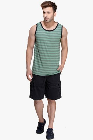 Army Green Striped Viscose Sleeveless Scoop neck Slim-Fit Vest