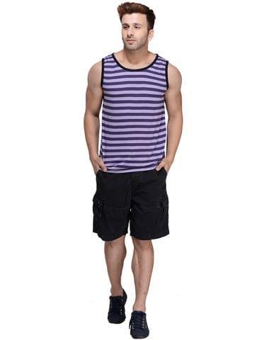 Purple Striped Viscose Sleeveless Scoop neck Slim-Fit Vest