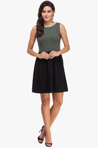 Bottle Green Melange and Black Knitted Dress