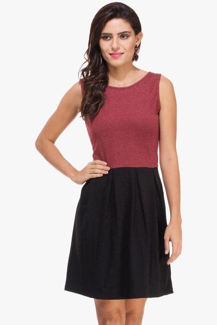 Maroon Melange and Black Knitted Dress
