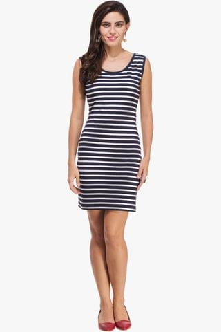 Navy and White Striped Bodycon Dress