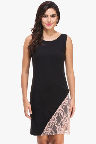 Black Dress and Peach Lace Detail