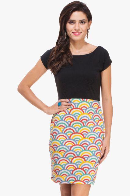 Black and Multi Colored Print Dress