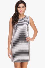 Striped Panel and Grey Melange Dress