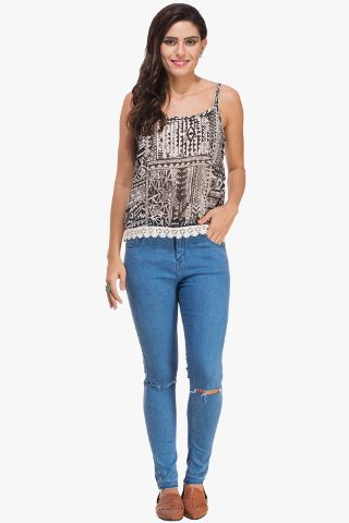 Abstract Print Camisole Top with Lace Hem