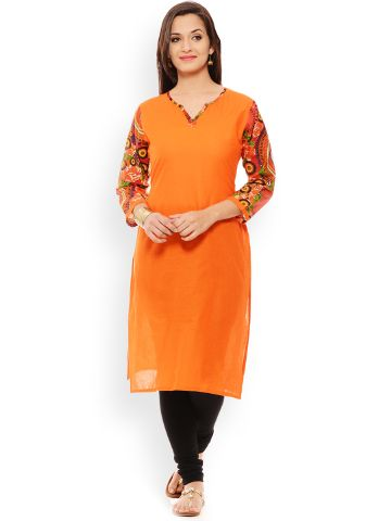 PATOLA Orange Printed Cotton 3/4 Sleeve Regular Fit V-Neck Kurti