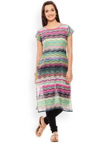 PATOLA Multi-Coloured Printed Cotton Short Sleeve Regular Fit Boat Neck Kurti
