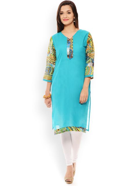 PATOLA Turquoise Printed Cotton 3/4 Sleeve Regular Fit V-Neck Kurti