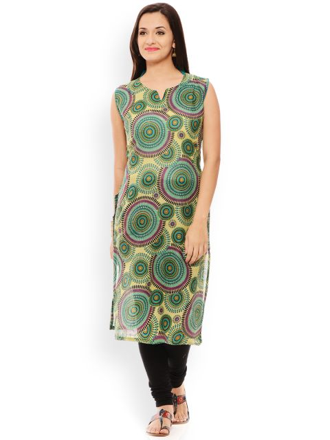 PATOLA Beige Printed Cotton Sleeveless Regular Fit V-Neck Kurti