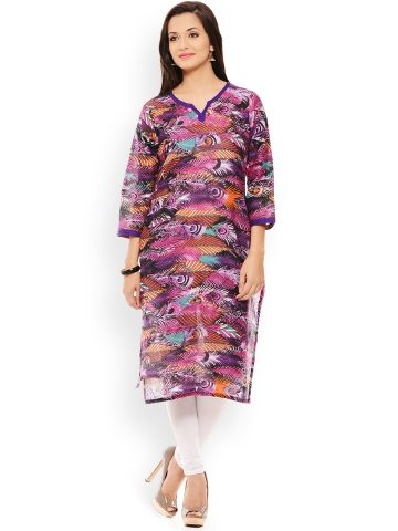 PATOLA Purple Printed Cotton 3/4 Sleeve Regular Fit V-Neck Kurti
