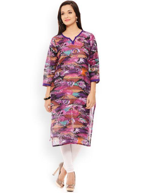 PATOLA Purple Printed Cotton 3/4 Sleeve Regular Fit V-Neck Kurti
