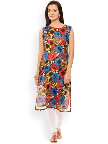 PATOLA Multi-Coloured Printed Cotton Sleeveless Regular Fit Boat Neck Kurti