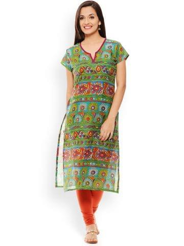 PATOLA Green Printed Cotton Short Sleeve Regular Fit V-Neck Kurti