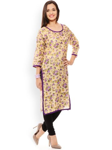 PATOLA Beige Printed Cotton 3/4 Sleeve Regular Fit Round Neck Kurti