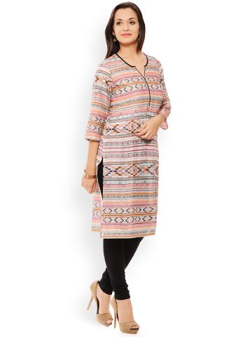 PATOLA Multi-Coloured Printed Rayon 3/4 Sleeve Regular Fit V-Neck Kurti