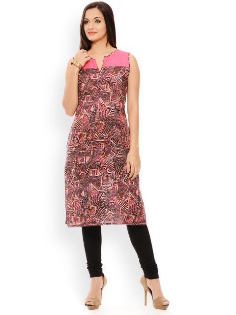 PATOLA Pink Printed Cotton Sleeveless Regular Fit Boat Neck Kurti