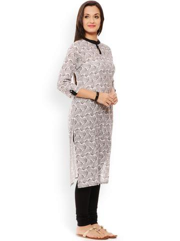 PATOLA Multi-Coloured Printed Rayon 3/4 Sleeve Regular Fit Banded Collar Kurti